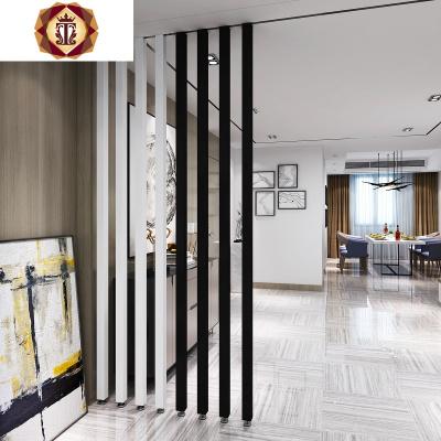 北歐簡約入戶鐵藝隔斷屏風玄關餐廳客廳臥室立柱免打孔豎條裝飾