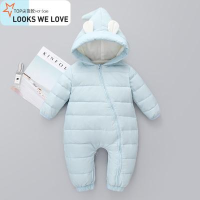 婴儿羽绒服连体衣秋冬季加厚外套装宝宝外出抱衣服儿保暖哈衣