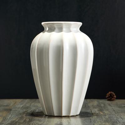 美式台面陶瓷花瓶客厅酒店插花干花做旧复古创意欧式简约时尚花器