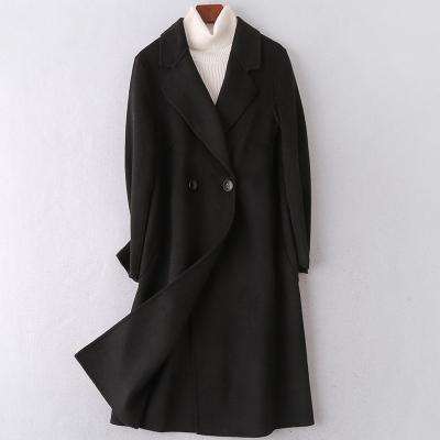 2020春季新款雙面毛呢大衣女士流行時尚羊毛呢子修身外套