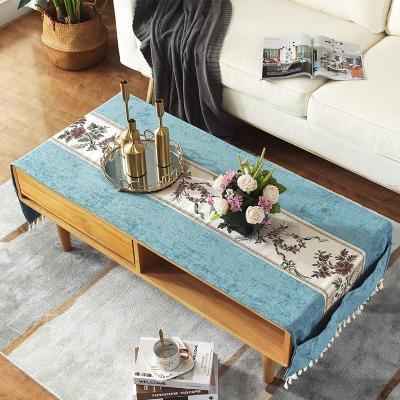 新中式茶幾桌布布藝自帶桌旗餐桌布中國風古典臺布客廳電視柜家用