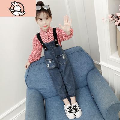 女童洋氣襯衫牛仔背帶褲套裝2020春秋裝新款韓版兒童吊帶褲兩件套 花漾兔