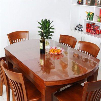 透明折叠伸缩椭圆形桌布软玻璃PVC餐桌垫塑料胶垫防水防油防烫