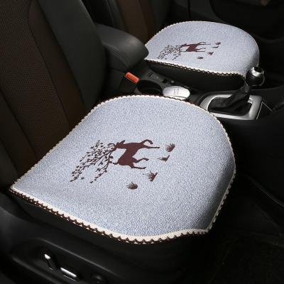 蒼月島新款小鹿棉麻汽車坐墊全包圍四季通用專用座椅套19新款卡通網紅女布藝座墊 小鹿米 小三件