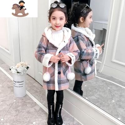 女童呢子大衣外套2019新款時髦洋氣網紅女童裝中大童秋冬厚毛呢  YueBin
