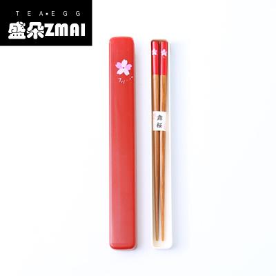 創意日式櫻花和風環保筷子筷盒餐具套裝旅行便攜式筷子套裝-lt01