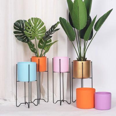 ELF生活志創意北歐花架彩色花盆簡約花幾室內擺件商業空間花架子