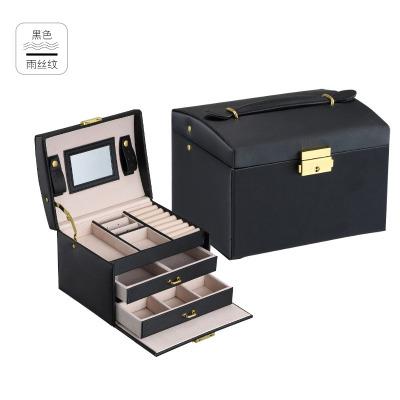 跨境pu皮革飾品 盒子三層雙抽屜珠寶首飾盒 公主珠寶首飾收納箱 雨絲紋黑色