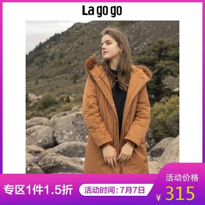 Lagogo/拉谷谷中長款連帽羽絨服女HCYY33XC75