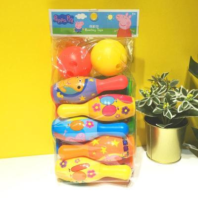 香港小豬佩奇 粉紅豬小妹 佩佩豬 早教 保齡球 兒童 玩具【定制】 佩奇袋裝保齡球新款