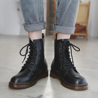 黑色马丁靴男高帮鞋情侣英伦潮中帮加绒百搭冬季工装靴子