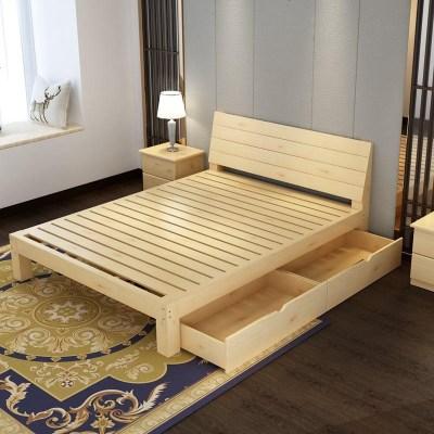 1.8米双人床1.9经济型拼装租房榻榻米床主卧实木床简单1.2m木头