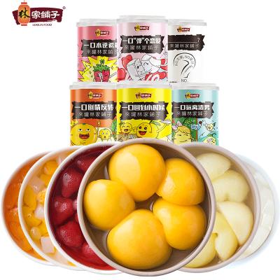 林家鋪子新鮮水果罐頭425g*6罐混合裝黃桃山楂椰果雪梨草莓什錦罐頭整箱