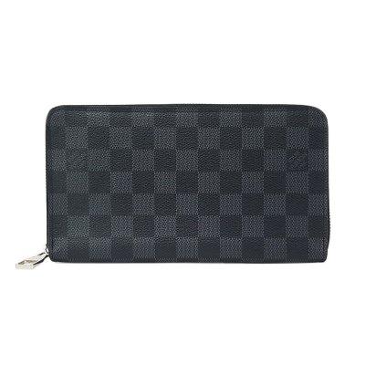 【正品二手95新】路易威登(LV)男士黑色棋盘格长款拉链钱包手包 帆布 拉链