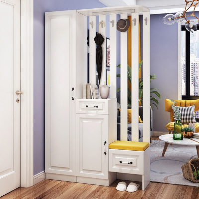 廳柜玄關柜隔斷柜簡約閃電客現代鞋柜客廳掛衣架衣帽柜裝飾柜組合 款一反向(反面造型門) 組裝