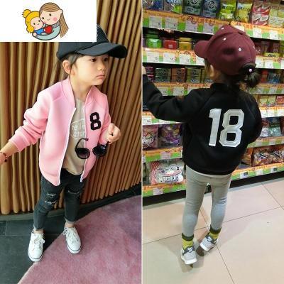 童装外套春秋装2018新款韩版儿童男女童宝宝数字外套夹克上衣