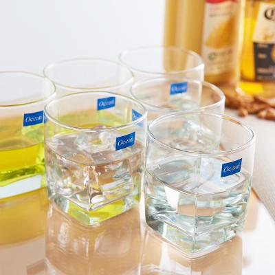 ocean进口无铅透明玻璃四方水杯耐热茶杯果汁杯矮款四方威士忌酒杯洋酒杯啤酒杯子295ML6只
