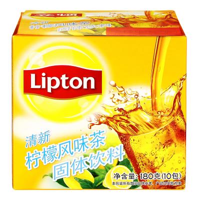 立顿Lipton 清新柠檬风味茶 固体饮料10包180g 办公室休闲下午茶