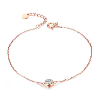 珂兰 玫瑰18K金钻石手链送女友 单钻8分 天使光环 KLSW026511
