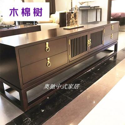 新中式实木电视柜现代简约客厅酒店视听柜地柜禅意卧室储物柜定制