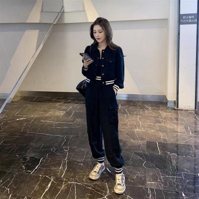 思蜜怡韓國2020秋季女裝新款寬松時尚套裝女甜美撞色上衣工裝褲兩件套潮