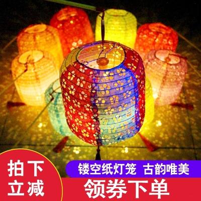 古風紙燈籠中國風折疊掛飾裝飾手工中式吊燈鏤空發光漢服拍攝道具 鏤空-桔色