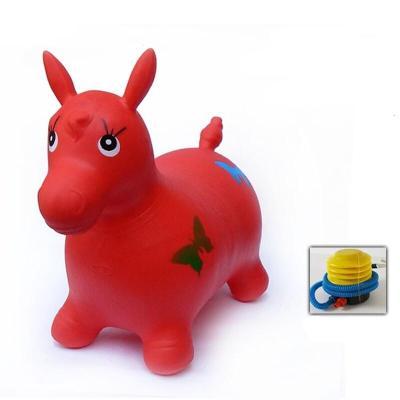 兒童跳跳馬 坐騎音樂跳跳馬加厚寶寶騎馬玩具充氣馬橡皮小馬玩具 金色普通紅鹿標準版
