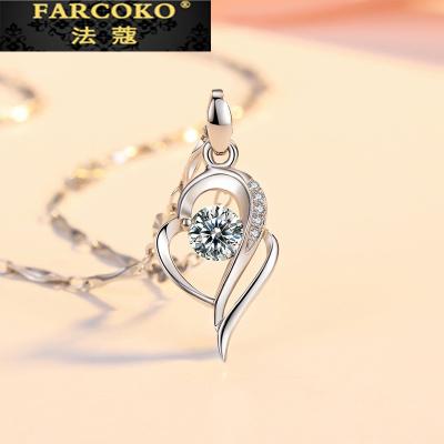 法蔻珠寶輕奢品牌項鏈女鍍鉑金鎖骨鏈純銀簡約情侶吊墜網紅銀飾品生日禮物送女友情人節禮物送女友