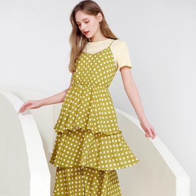 三彩2020夏季新款圓領T恤波點印花松緊腰吊帶蛋糕裙兩件套