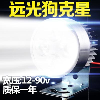 澳派电动车灯摩托车LED灯泡电瓶射灯电单车灯12V48伏60V超亮外置大灯