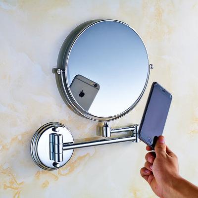 免打孔浴室化妝鏡古達衛浴壁掛圓形洗手間貼墻折疊放大廁所衛生間鏡子