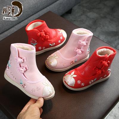 【新品特卖】儿童加绒靴汉服鞋刺绣中国风拜年鞋公主女童鞋民族风绣花鞋棉鞋子