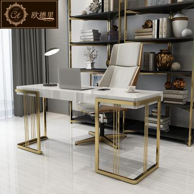 后現代輕奢書桌鋼琴烤漆不銹鋼電腦桌簡約辦公桌家用寫字臺
