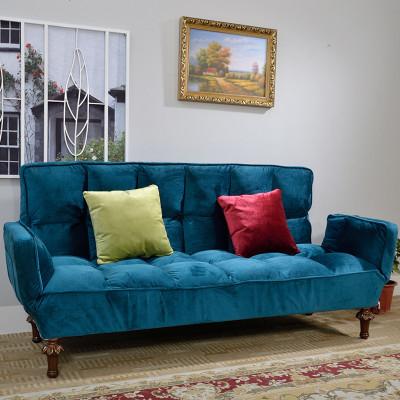 美式乡村沙发床实木沙发布艺座垫沙发可折叠服装店沙发客厅沙发