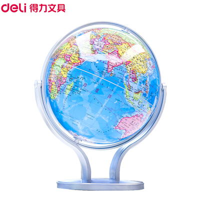 得力(deli)2167地球儀 14.2cm世界地球儀 辦公教學高清地理旋轉地球儀 萬向地球儀 學生兒童書房擺件