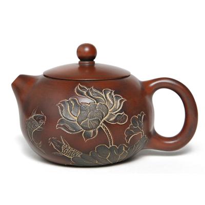 廣西欽州坭興陶茶壺 純全手工泥興陶套裝茶具荷花西施壺