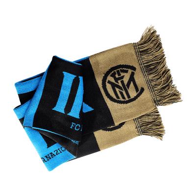 國際米蘭足球俱樂部球迷藍黑圍巾雙面球迷助威圍巾紀念品禮物