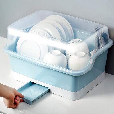 裝碗筷收納盒帶蓋帶瀝水架置物閃電客放碗箱家用廚房臺面碗柜碗碟收納架 帶抽屜瀝水特大號藍色