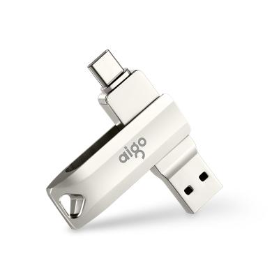 愛國者(aigo)32GB Type-C USB3.1 手機U盤 U351高速讀寫款 銀色 雙接口手機電腦用