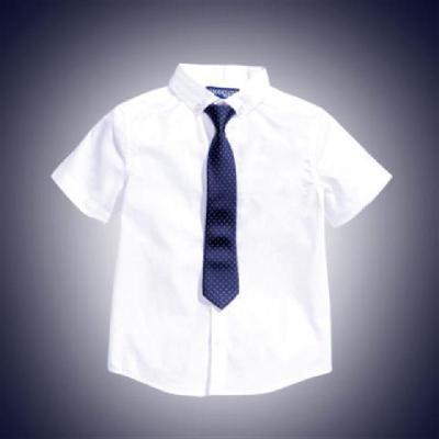 新款兒童免燙白襯衫男童短袖白色襯衣夏季大童小學生校服襯衫 TCVV