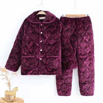 中老年冬季妈妈夹棉睡衣三层加厚涤纶家居服女式加大码睡衣套装TCVV
