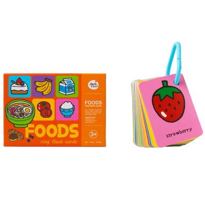 JoanMiro美乐儿童卡片早教英语单词识字0-1-3岁6婴儿幼儿宝宝益智认知闪卡 美味食物 通用款