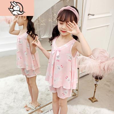 女童兒童睡衣夏季棉綢薄款綿綢套裝無袖寶寶空調家居服中大童女孩 花漾兔