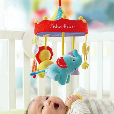 費雪(Fisher-Price)寶寶安撫床鈴 嬰兒童床掛件新生兒床頭八音盒搖籃曲安撫玩具幼兒推車獅子小象公仔F1027