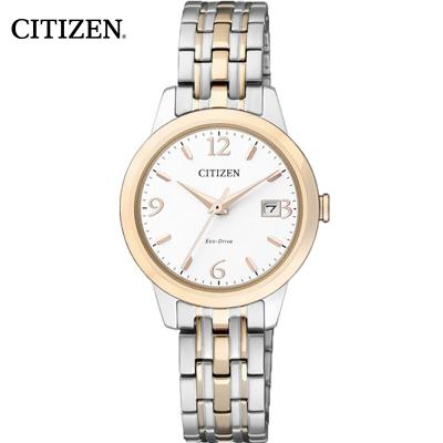 西铁城(CITIZEN)手表 光动能不锈钢间玫瑰金表带情侣表女表EW2234-55A