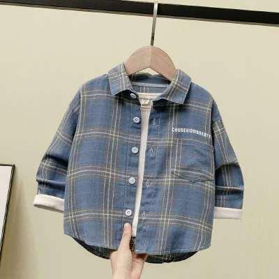 越彬男童襯衫款中小童格子襯衣兒童裝洋氣寶寶長袖棉上衣薄外套潮兒童襯衫