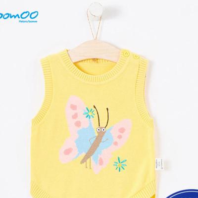 【1件3折價:31.5】moomoo童裝女幼童毛織背心新款春秋裝女寶寶簡約卡通上衣