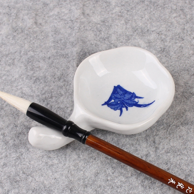 陶瓷墨碟青花瓷笔搁笔洗国画 多功能使用碟文房书法陶瓷