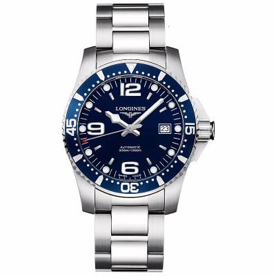 浪琴(Longines)康卡斯系列手表 藍色表盤休閑 時尚 商務 鋼帶 自動機械男士手表 L3.642.4.96.6