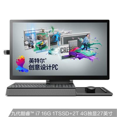 聯想(Lenovo)Yoga A940英特爾酷睿i7 創意設計觸摸觸控屏一體機臺式電腦27英寸(i7-9700 16G 2T+1TB SSD 4G獨顯 Win10)灰色